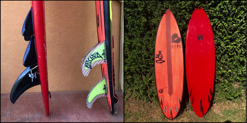 Two 6'4, round tail boards. Notice how much more of the rail the fins cover on the Bonzer vs. the Thruster.